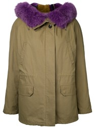 Army Yves Salomon Oversized Collar Coat Women Cotton Fox Fur Rabbit Fur 36 Green