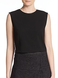 Alice Olivia Flynn Lace And Leather Accented Crop Top Black