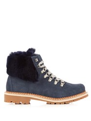 Montelliana Camelia Fur Trimmed Suede Apres Ski Boots Navy