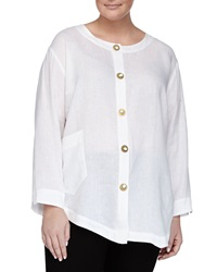 Go Silk Asymmetric Linen Novelty Button Tunic White