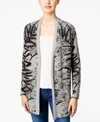 Calvin Klein Jeans Patterned Open Front Cardigan Black