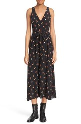 Women's Rebecca Taylor 'Mini Meadow' Floral Print Silk Sleeveless Maxi Dress