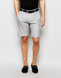 Selected Homme Skinny Cotton Shorts With Turn Up And Stretch Grey