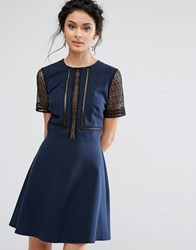 Elise Ryan Skater Dress With Lace Inserts Navy Black