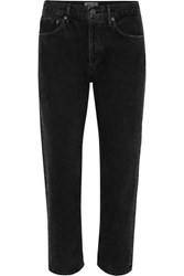 Agolde Parker Cropped Organic High Rise Straight Leg Jeans Black
