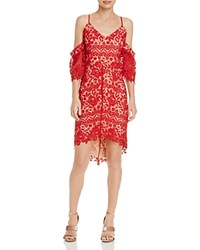 Adelyn Rae Krista High Low Lace Dress Red Nude