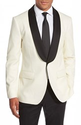 Men's Big And Tall Bonobos Slim Fit Wool Dinner Jacket Ivory Flannel
