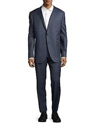 Corneliani Windowpane Italian Wool Suit Dark Blue Check