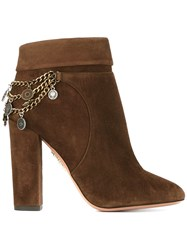 Aquazzura Charm Detail Ankle Boots Brown