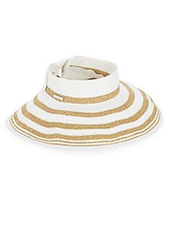 San Diego Hat Company Striped Rolled Wide Brim Visor White