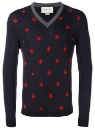 Gucci Bee And Star Embroidered Jumper Blue