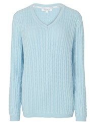 Tulchan Classic Cable Jumper Duck Egg