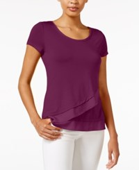 Maison Jules Asymmetrical Contrast Top Only At Macy's Cherry Plum