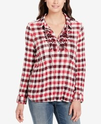 Vintage America Astrid Checked Top Persian Red