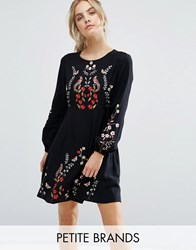New Look Petite Floral Embroidered Skater Dress Black Pattern