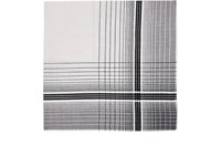 Simonnot Godard Men's Plaid Border Cotton Voile Pocket Square White Black Grey