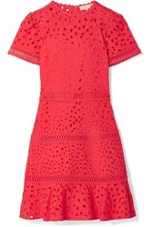 Michael Michael Kors Crochet Trimmed Broderie Anglaise Cotton Mini Dress Papaya
