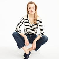 J.Crew Striped V Neck Sweater In Summerweight Cotton