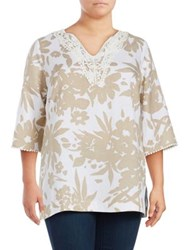 Context Plus Floral Printed Tunic White Enamel