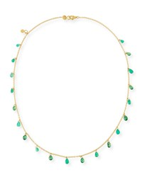 Gurhan One Of A Kind 22K Gold Shaker Necklace With Emerald And Tsavorite Briolettes