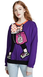 Michaela Buerger I Love Paris Carryall Sweatshirt Purple Orange