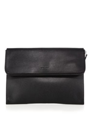 Giorgio Armani Leather Flap Portfolio Black