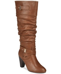Rampage Eliven Tall Shaft Dress Boots Women's Shoes Cognac