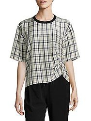 Public School Odessa Kelly Plaid Top Ivory Navy