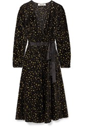 Diane Von Furstenberg Satin Trimmed Metallic Flocked Chiffon Wrap Dress Black