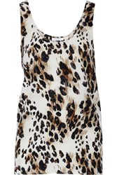 Equipment Kaylen Leopard Print Silk Tank Animal Print