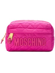 Moschino Quilted Logo Clutch Pink Purple
