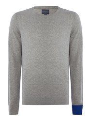 Perry Ellis College Crew Neck Contrast Cuff Jumper Grey