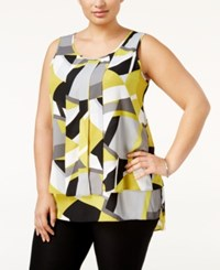 Alfani Plus Size Pleated High Low Shell Only At Macy's Retro Abstract Lime