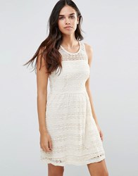 Pussycat London Skater Dress In Lace Cream