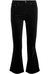 Rag And Bone Cropped Velvet Mid Rise Flared Jeans Black