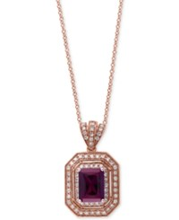 Effy Collection Bordeaux By Effy Rhodolite Garnet 1 5 8 Ct. T.W. And Diamond 1 4 Ct. T.W. Double Frame Pendant Necklace In 14K Rose Gold
