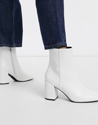 Bershka Patent Boot With Block Heel In White