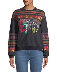 Etro Embroidered Logo Sweatshirt W Ribbon Background Black
