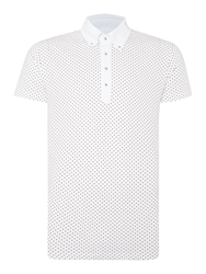 Peter Werth Ritchie Polka Dot Slim Fit Polo Shirt White