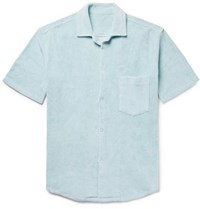 The Elder Statesman Camp Collar Cotton Terry Shirt Sky Blue