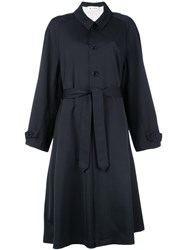 Barena Trench Coat Women Cotton Polyester Spandex Elastane Virgin Wool 40 Blue