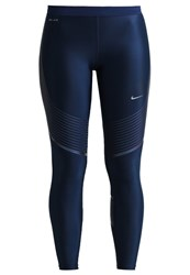 Nike Performance Power Speed Tights Midnight Navy Iridescent Reflective Silver Dark Blue