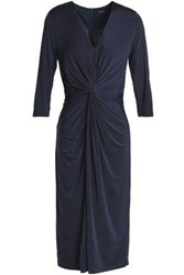 Raoul Twist Front Stretch Jersey Dress Navy