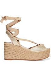 Tabitha Simmons Logan Metallic Leather Wedge Espadrille Sandals Gold
