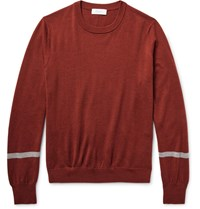 Enlist Striped Merino Wool Sweater Brick