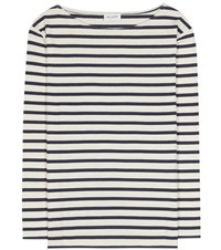 Saint Laurent Distressed Striped Cotton T Shirt White