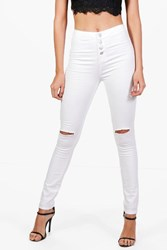 Boohoo High Waisted Button Fly Skinny Jeans White