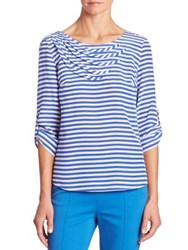 Akris Punto Silk Striped Blouse Cream Azul