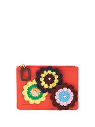 J.W.Anderson Daisies Crochet Leather Pouch Red Multi
