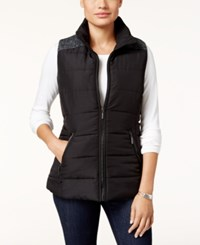 Styleandco. Style Co. Petite Mixed Media Puffer Vest Only At Macy's Deep Black